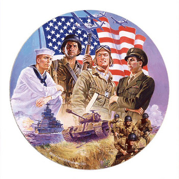 The Armed Forces Sandstone Round Beverage Coasters, Set of 8