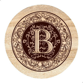 Monogram B Sandstone Beverage Coasters, Set of 4