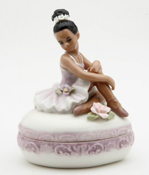Ballerina on top of Purple Porcelain Box