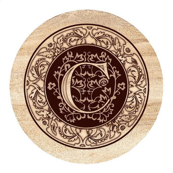 Monogram C Sandstone Beverage Coasters, Set of 4