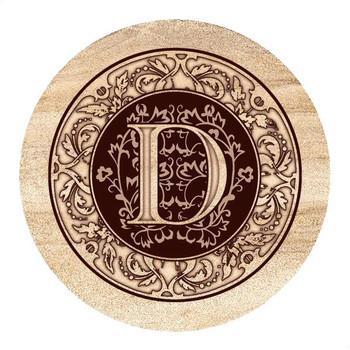 Monogram D Sandstone Beverage Coasters, Set of 4