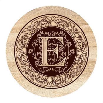 Monogram E Sandstone Beverage Coasters, Set of 4