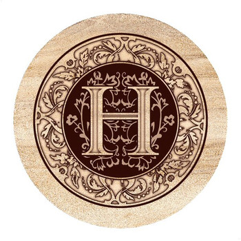 Monogram H Sandstone Beverage Coasters, Set of 4