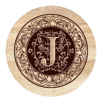Monogram J Sandstone Beverage Coasters, Set of 4