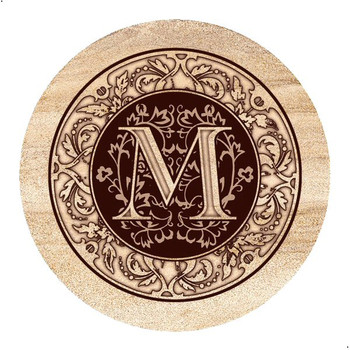 Monogram M Sandstone Beverage Coasters, Set of 4