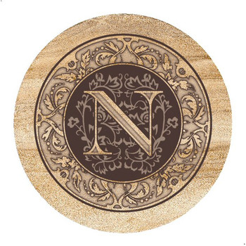 Monogram N Sandstone Beverage Coasters, Set of 4