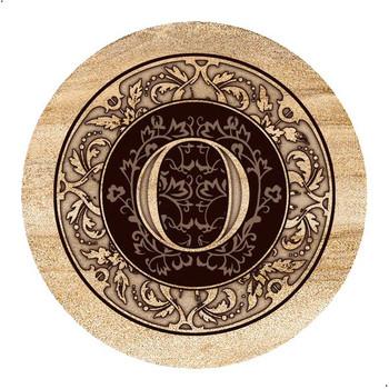 Monogram O Sandstone Beverage Coasters, Set of 4