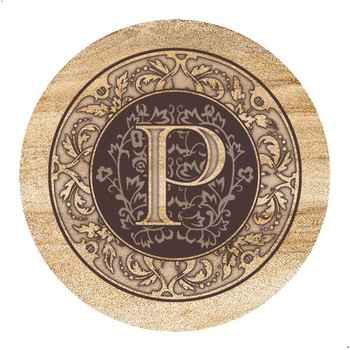 Monogram P Sandstone Beverage Coasters, Set of 4