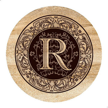 Monogram R Sandstone Beverage Coasters, Set of 4