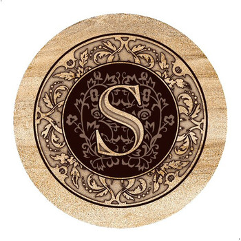 Monogram S Sandstone Beverage Coasters, Set of 4