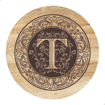 Monogram T Sandstone Beverage Coasters, Set of 4