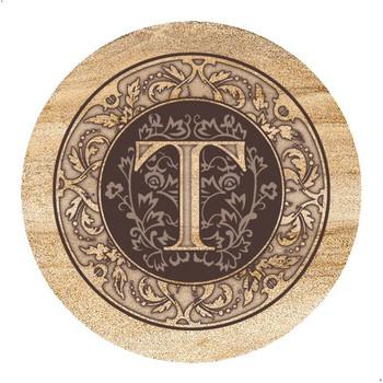 Monogram T Sandstone Beverage Coasters, Set of 4
