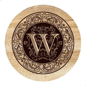 Monogram W Sandstone Beverage Coasters, Set of 4