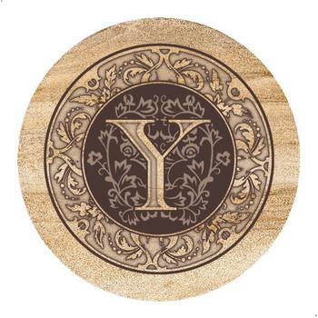 Monogram Y Sandstone Beverage Coasters, Set of 4