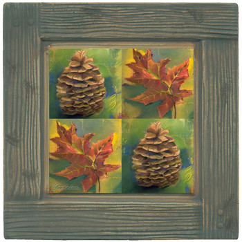 A Walk in the Woods Pine Cone Beverage Coasters, Set of 8