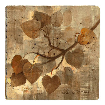 Aspen Leaves Travertine Stone Coasters by Albena Hristova, Set of 8