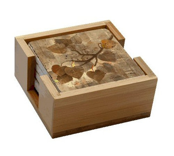 Aspen Leaves Travertine Stone Coasters by Albena Hristova, Set of 10