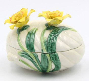 Yellow Narcissus Ceramic Box