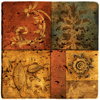 Organic Montage I Travertine Stone Coasters by Norm Olson, Set of 8