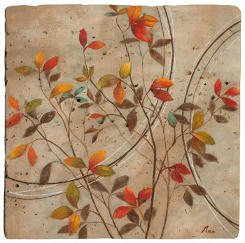 Colored Leaves Travertine Stone Beverage Coasters, Set of 8