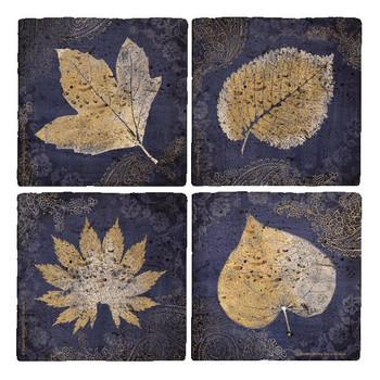 Glowing Leaves Travertine Stone Coasters by Booker Morey, Set of 8