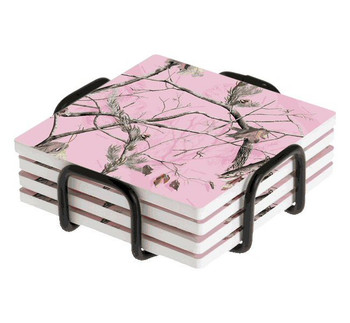 Realtree AP HD Pink Scenic Absorbent Beverage Coasters, Set of 10