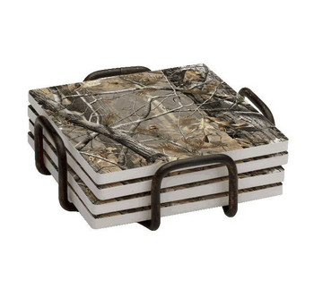 Realtree AP HD Scenic Absorbent Beverage Coasters, Set of 10