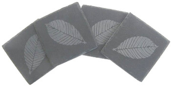 Etched Leaf Natural Slate Beverage Coasters, Set of 8
