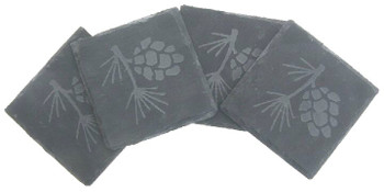 Etched Pine Cone Natural Slate Beverage Coasters, Set of 8