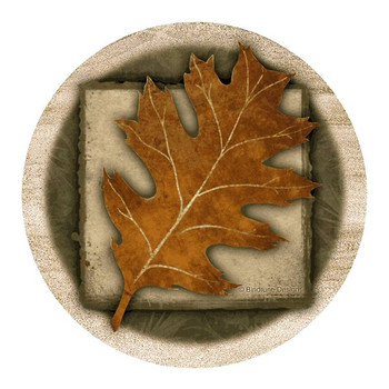 Oak Leaf Sandstone Beverage Coasters by Bindrune Designs, Set of 8