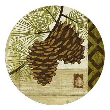 Summer Pine Cones Sandstone Round Beverage Coasters, Set of 8