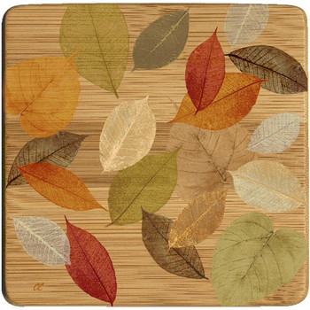 Golden Leaves I Beverage Coasters, Set of 8