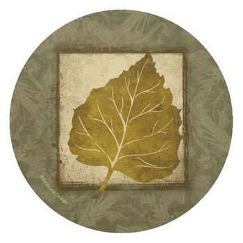 Aspen Leaf Round Beverage Coasters by Bindrune Design, Set of 8