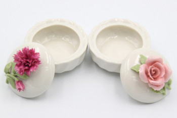Pink Rose and Carnation Flowers Ceramic Boxes, Set of 2