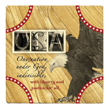 USA Sandstone Beverage Coasters by Jan Shade Beach, Set of 6