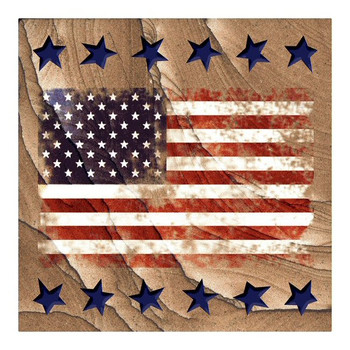 American Flag Cinnabar Sandstone Beverage Coasters, Set of 8