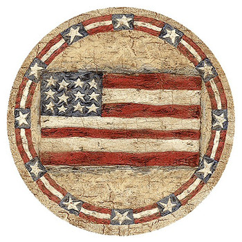 Americana Flag Sandstone Beverage Coasters, Set of 8