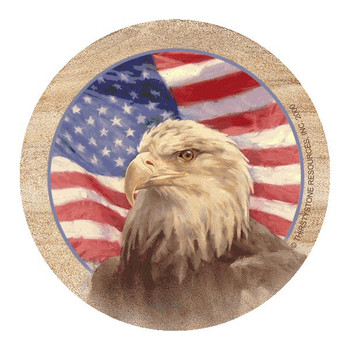 Independence American Flag and Bald Eagle Sandstone Coasters, Set of 8