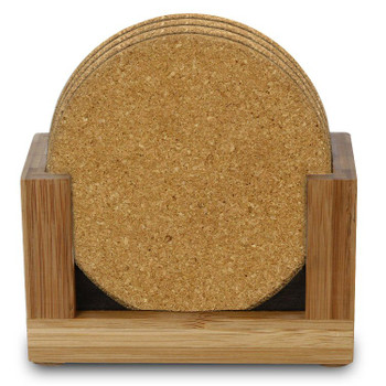 Natural Cork Beverage Coasters with Natural Wood Holders, Set of 14