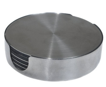 Round Stainless Steel Beverage Coasters, Set of 12
