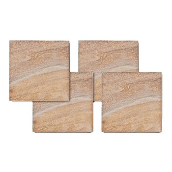 Rainbow Stone Sandstone Square Beverage Coasters, Set of 8
