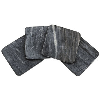 Square Black Marble Beverage Coasters, Set of 8