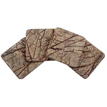 Square Rainforest Marble Beverage Coasters, Set of 8