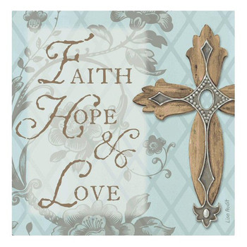 Faith Hope Love Absorbent Beverage Coasters by Lisa Audit, Set of 8