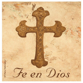 Fe en Dios Cross Beverage Coasters by Tiffany Hakimipour, Set of 8