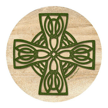 Celtic Cross Sandstone Round Coasters by Kevin Fletcher, Set of 8