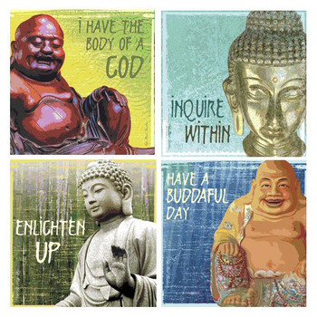 Inspiration Buddha Beverage Coasters by Kate Ward Thacker, Set of 8