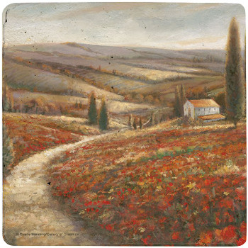 Tuscan Palette Travertine Stone Beverage Coasters, Set of 8