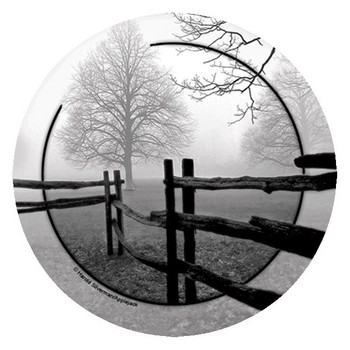 Fence in the Mist Round Beverage Coasters by H. Silverman, Set of 8