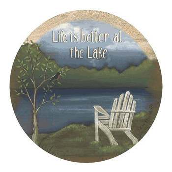 Life is Better at the Lake Sandstone Coasters by Kim Lewis, Set of 8